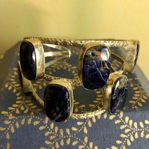 Large Sterling & Sodalite Cuff Bracelet